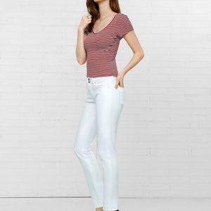 Express Mid Rise White Cropped Jean Leggings